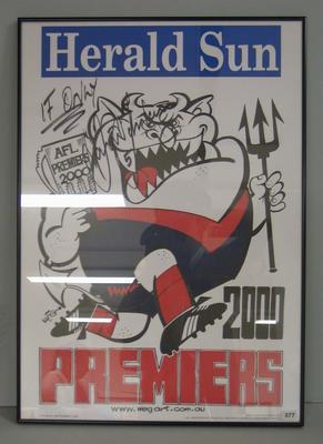 Framed original losing Weg poster autographed by David Schwarz, 2000