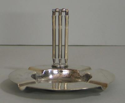 Silver plated ashtray awarded to Ron Hamence to commemorate Australia's 1948 Ashes Tour of England