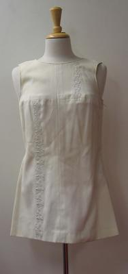 Tinling tennis dress with zodiac sign appliqué worn by Judy Dalton