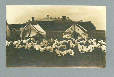 Postcard, image of unknown group of men exercising