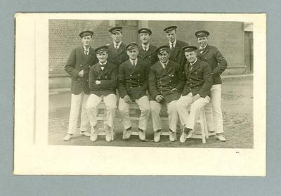 Postcard, image of unknown group of men in uniform
