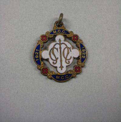 Melbourne Cricket Club membership medallion, season 1921/22