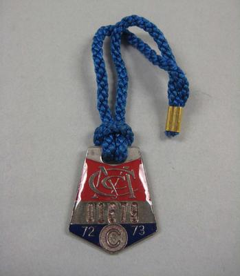 Melbourne Cricket Club Medallion, 1972/73, with blue lanyard