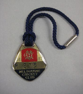 Melbourne Cricket Club Medallion, 1986/87, with blue lanyard