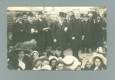 Postcard, image of foundation stone laying - Albert Park State School