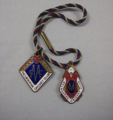 Two Melbourne Cricket Club membership medallions, 1946/47 & 1955/56