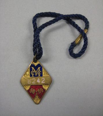Melbourne Cricket Club membership medallion, 1958/59, with blue lanyard