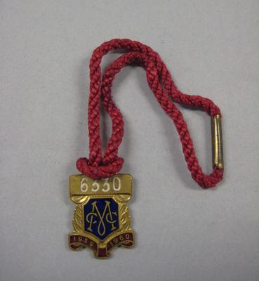 Melbourne Cricket Club membership medallion, 1959/60, with red lanyard