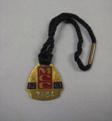 Melbourne Cricket Club membership medallion, 1962/63, with black lanyard