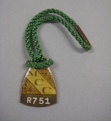 Melbourne Cricket Club Medallion, 1964/65, with green lanyard