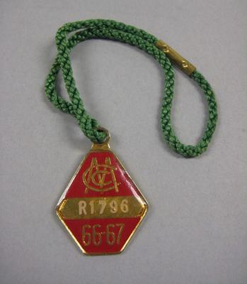 Melbourne Cricket Club Medallion, 1966/67, with green lanyard