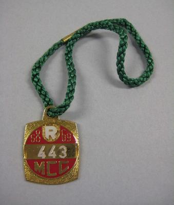 Melbourne Cricket Club Medallion, 1968/69, with green lanyard
