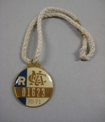 Melbourne Cricket Club Medallion, 1970/71, with white lanyard