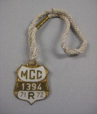 Melbourne Cricket Club Medallion, 1971/72, with white lanyard