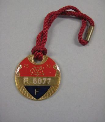 Melbourne Cricket Club Medallion, 1975/76, with red lanyard