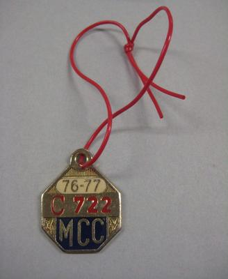 Melbourne Cricket Club Medallion, 1976/77, with red lanyard