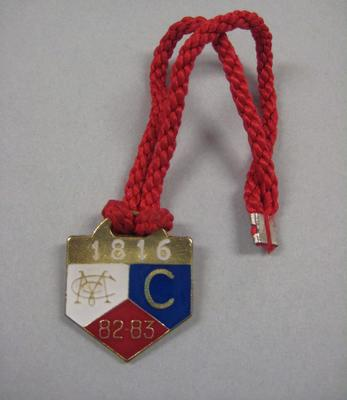 Melbourne Cricket Club Medallion, 1982/83, with red lanyard