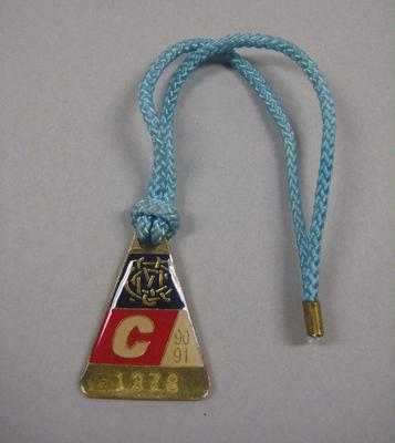 Melbourne Cricket Club Medallion, 1990/91, with light blue lanyard