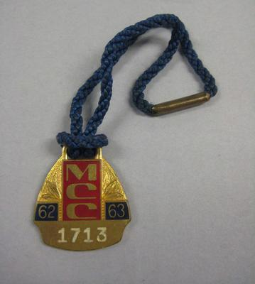 Melbourne Cricket Club Medallion, 1962/63, with blue lanyard