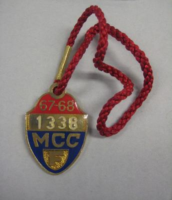 Melbourne Cricket Club Medallion, 1967/68, with red lanyard