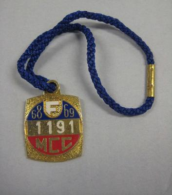 Melbourne Cricket Club Medallion, 1968/69, with blue lanyard