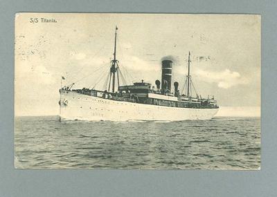 Postcard, image of SS Titiana - 1910