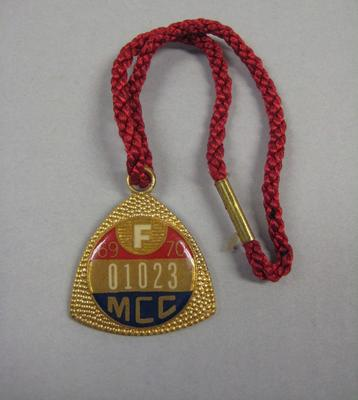 Melbourne Cricket Club Medallion, 1969/70, with red lanyard