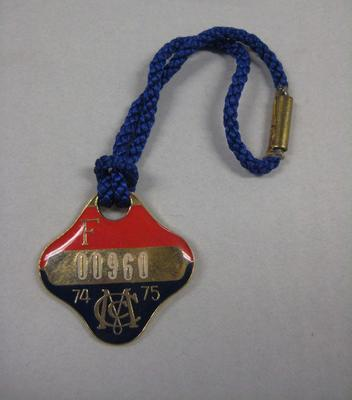 Melbourne Cricket Club Medallion, 1974/75, with blue lanyard