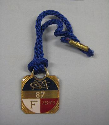 Melbourne Cricket Club Medallion, 1978/79, with blue lanyard