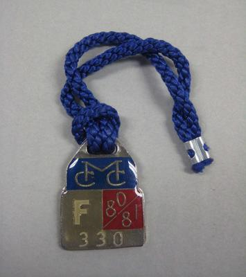 Melbourne Cricket Club Medallion, 1980/81, with blue lanyard