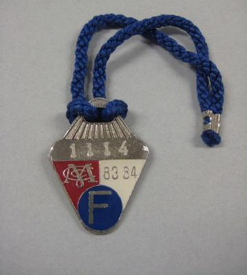 Melbourne Cricket Club Medallion, 1983/84, with blue lanyard
