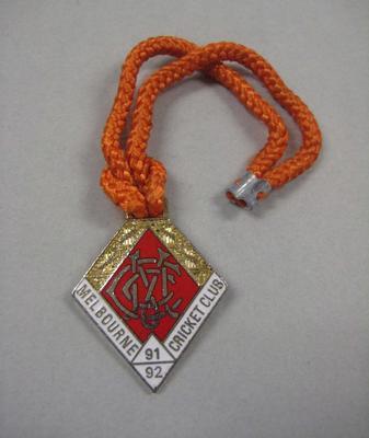 Melbourne Cricket Club Medallion, 1991/92, with orange lanyard