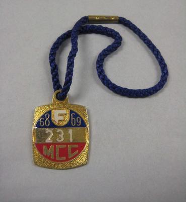Melbourne Cricket Club membership medallion, season 1968/69