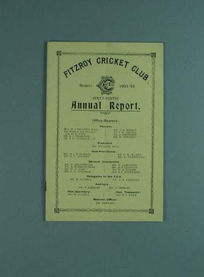 Annual report, Fitzroy Cricket Club - season 1931/32; Documents and books; 1987.1756.36