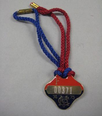 Melbourne Cricket Club membership medallion, season 1974/75