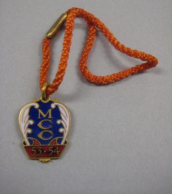 Melbourne Cricket Club Medallion, 1953/54, with orange lanyard