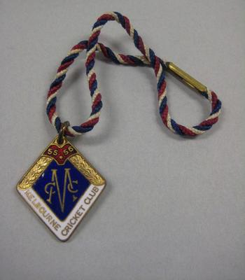 Melbourne Cricket Club Medallion, 1955/56, with red, white and blue lanyard