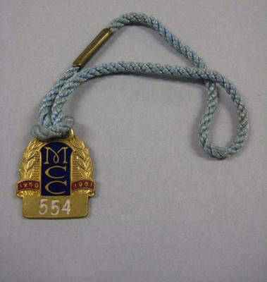 Melbourne Cricket Club Medallion, 1960/61, with light blue lanyard