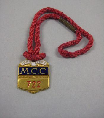 Melbourne Cricket Club Medallion, 1963/64, with red lanyard