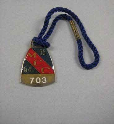 Melbourne Cricket Club Medallion, 1964/65, with blue lanyard