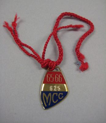 Melbourne Cricket Club Medallion, 1965/66, with red lanyard
