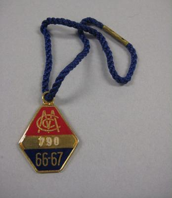 Melbourne Cricket Club Medallion, 1966/67, with blue lanyard