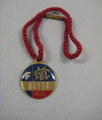 Melbourne Cricket Club Medallion, 1970/71, with red lanyard