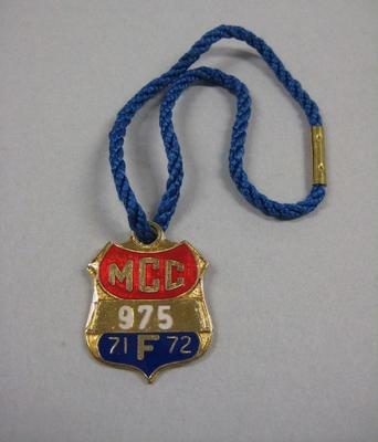 Melbourne Cricket Club Medallion, 1971/72, with blue lanyard