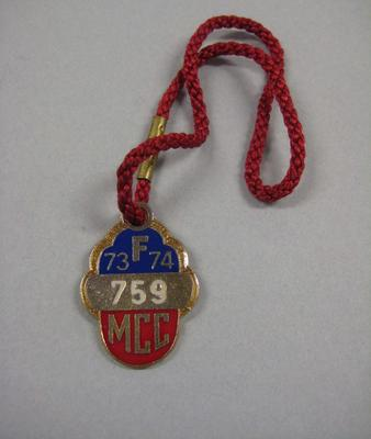 Melbourne Cricket Club Medallion, 1973/74, with red lanyard