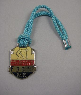 Melbourne Cricket Club Medallion, 1984/85, with light blue lanyard