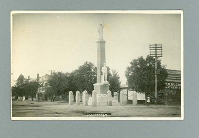Postcard with image of war memorial in Yarrawonga, Vic