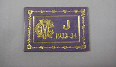 Melbourne Cricket Club Membership Ticket, 1933/34