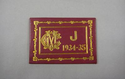 Melbourne Cricket Club Membership Ticket, 1934/35