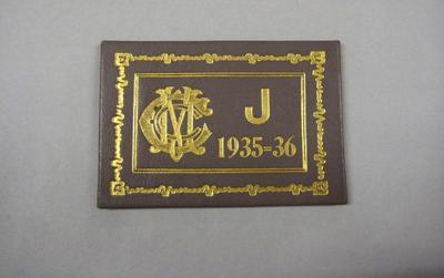 Melbourne Cricket Club Membership Ticket, 1935/36